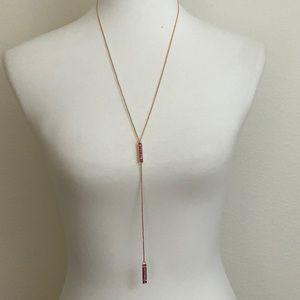Kendra Scott Lilly Fuchsia Druzy Y Gold Necklace
